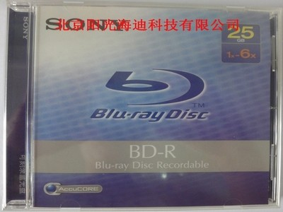 代理行货 索尼/SONY 25G 一次性 蓝光盘(BNR25A6) 6X  不可擦写 25GB 蓝光 光盘